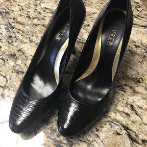 Ralph Lauren Black Leather Size 10 heels